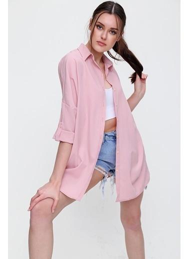 Pink Park Boyfriend Dokuma Gömlek RD00004 Pembe